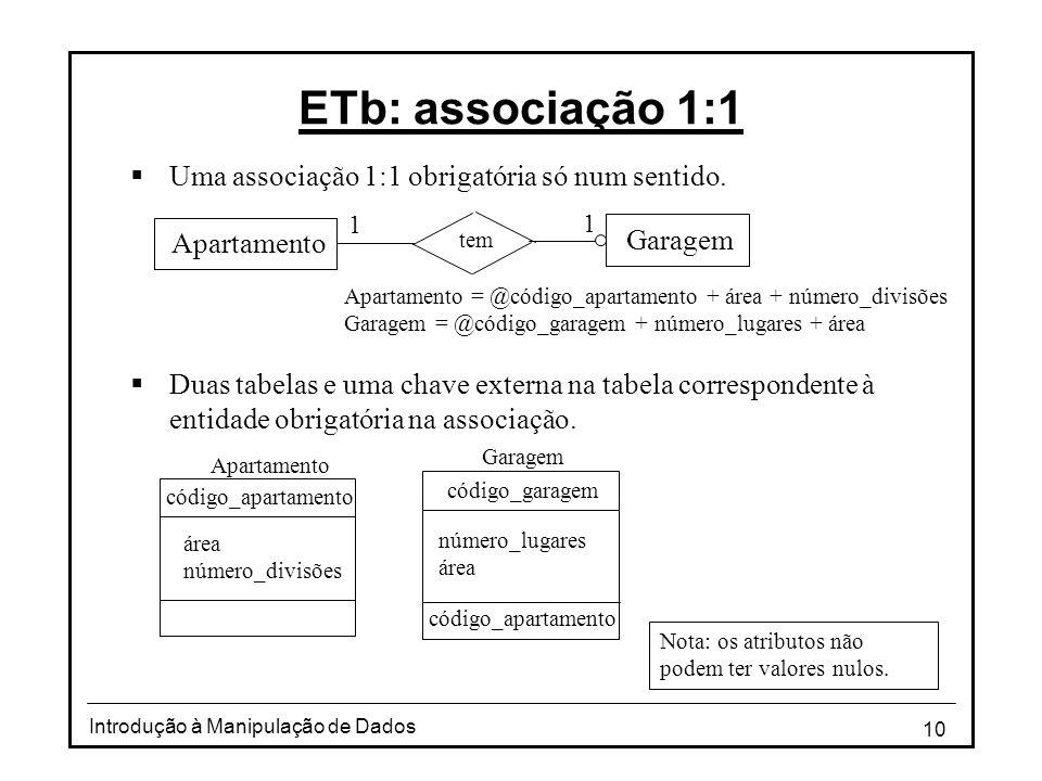 ETb: associação 1:1 Uma associação 1:1 obrigatória só num sentido.