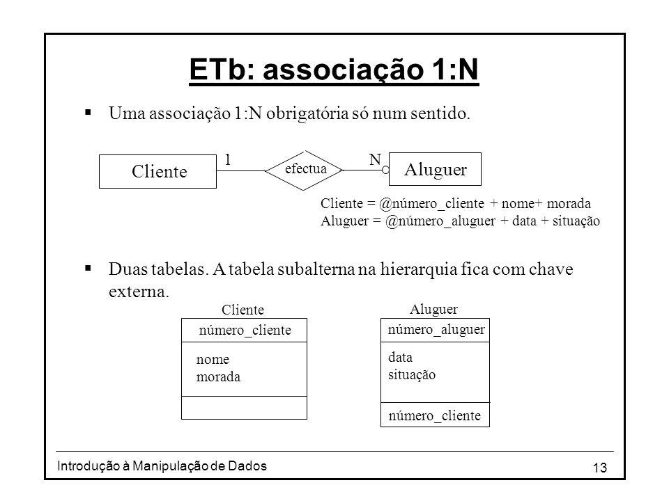 ETb: associação 1:N Uma associação 1:N obrigatória só num sentido.
