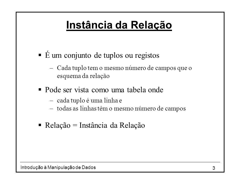 Instância da Relação É um conjunto de tuplos ou registos
