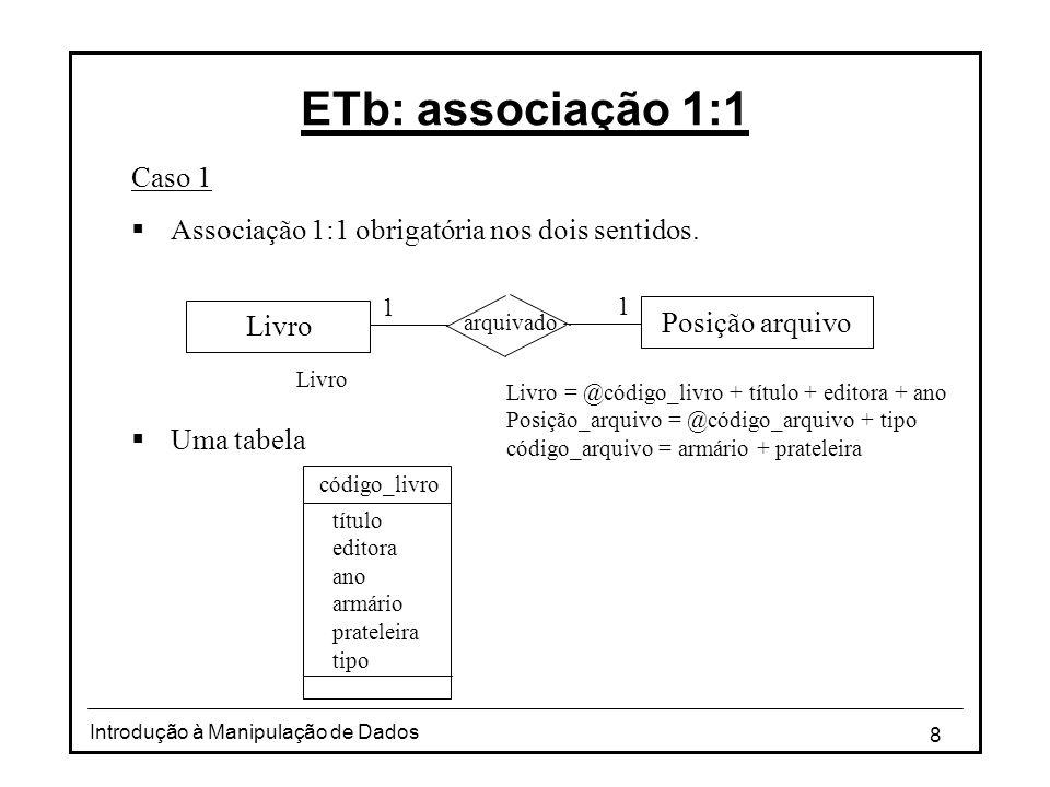 ETb: associação 1:1 Caso 1. Associação 1:1 obrigatória nos dois sentidos. Uma tabela. 1. 1. Livro.