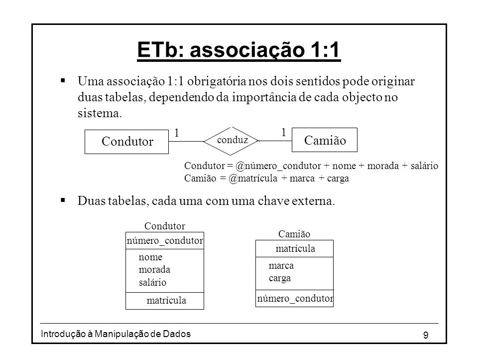 ETb: associação 1:1