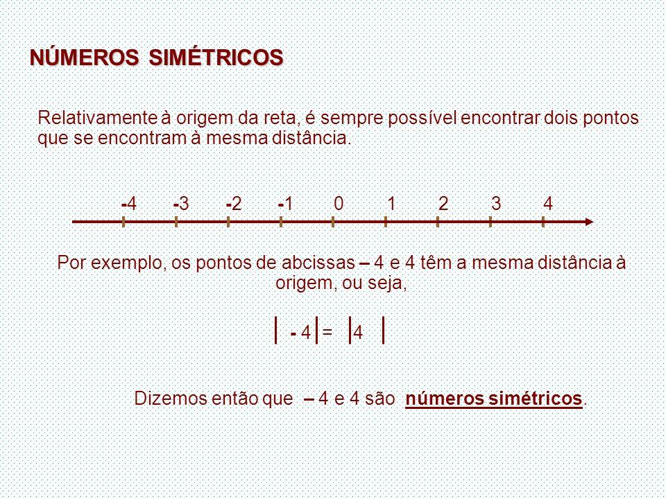 Dizemos então que – 4 e 4 são números simétricos.