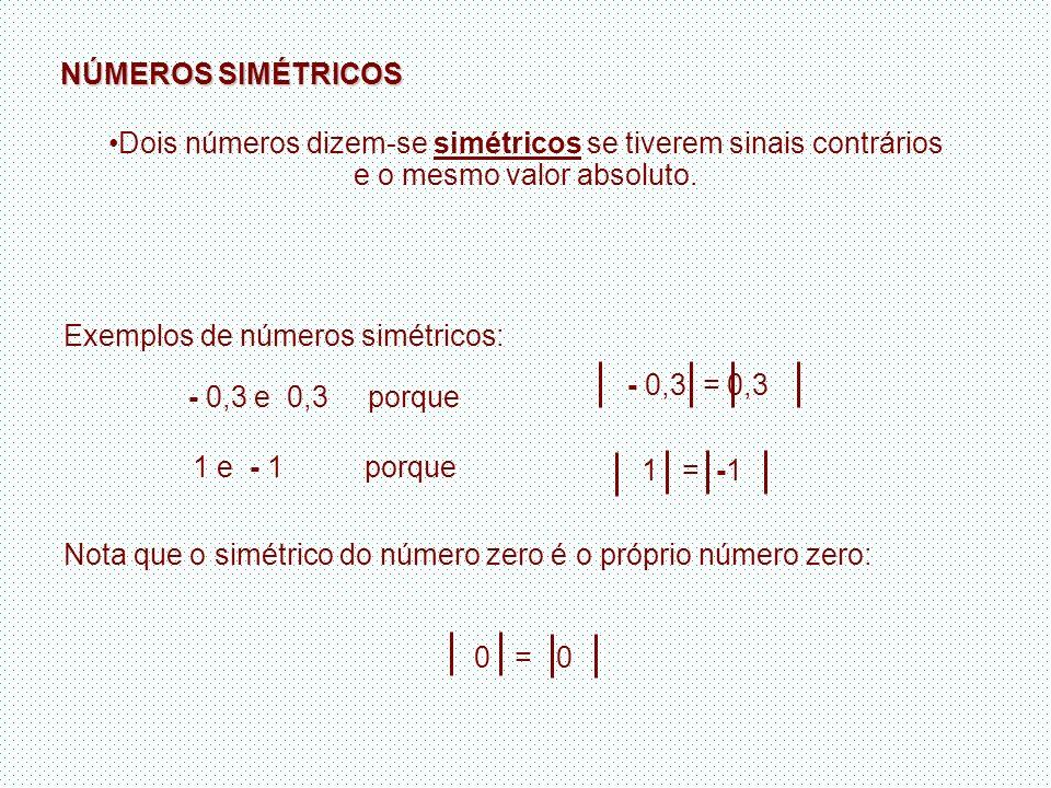 NÚMEROS SIMÉTRICOS Dois números dizem-se simétricos se tiverem sinais contrários e o mesmo valor absoluto.