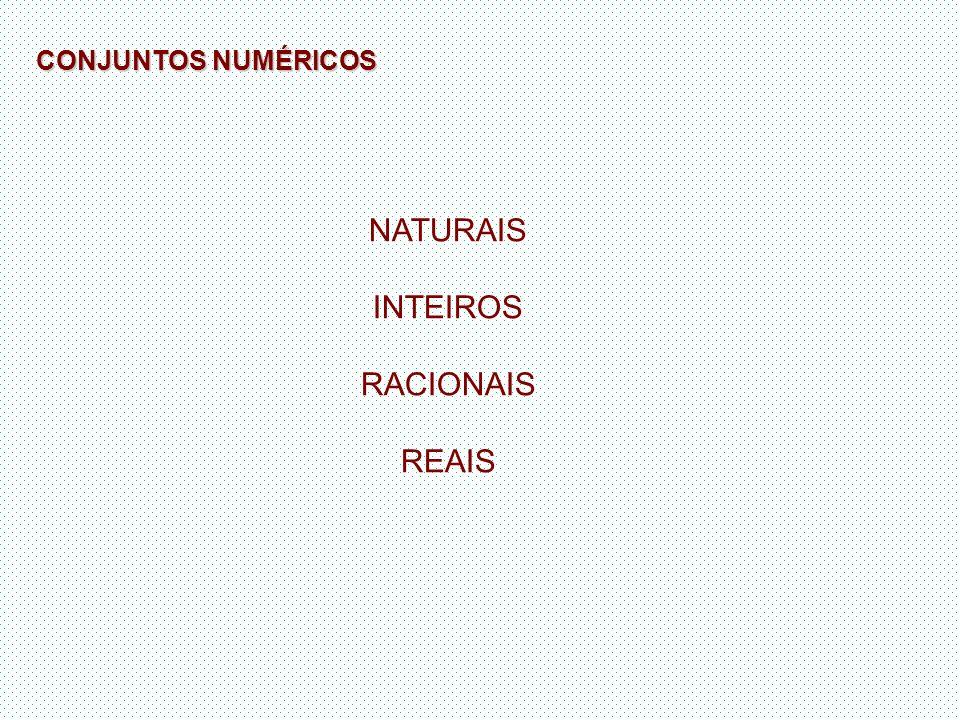 CONJUNTOS NUMÉRICOS NATURAIS INTEIROS RACIONAIS REAIS