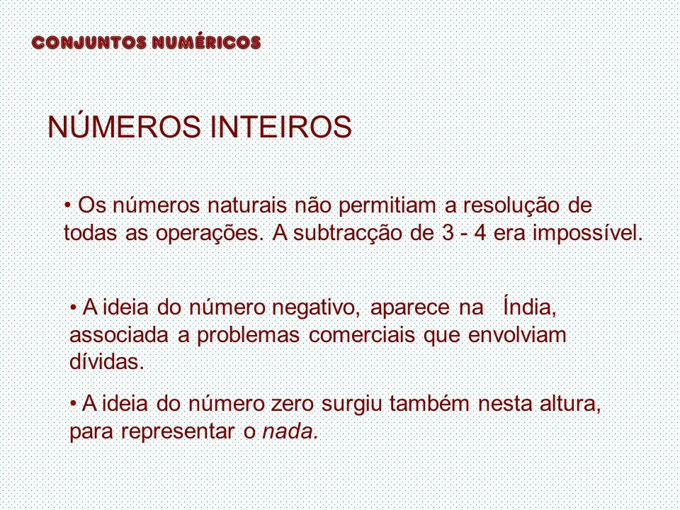 NÚMEROS INTEIROS Os números naturais não permitiam a resolução de todas as operações. A subtracção de 3 - 4 era impossível.