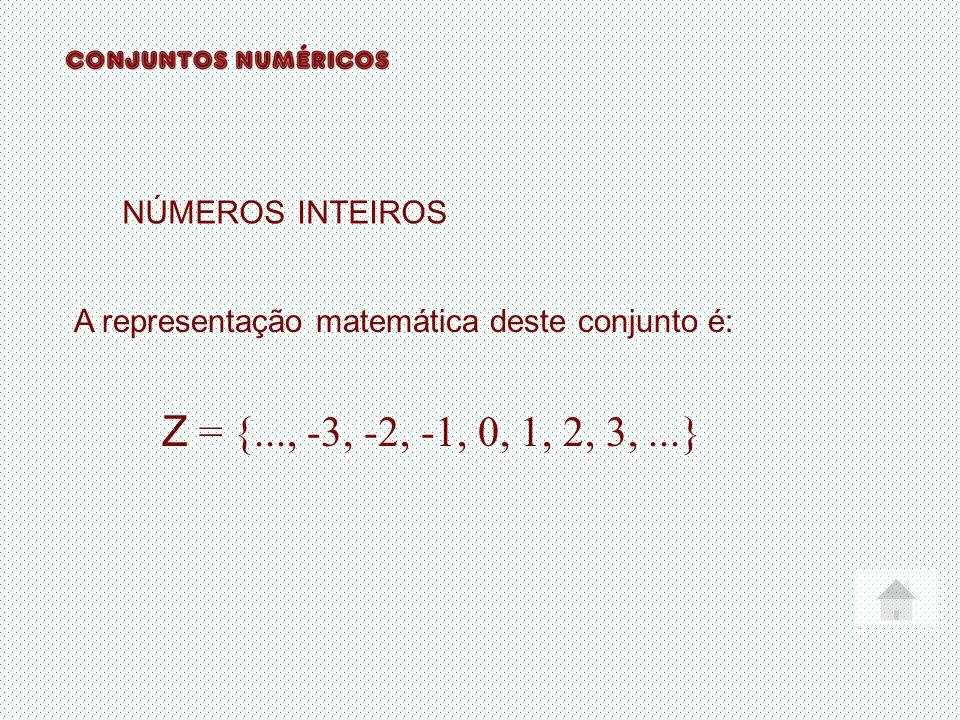 Z = {..., -3, -2, -1, 0, 1, 2, 3, ...} NÚMEROS INTEIROS