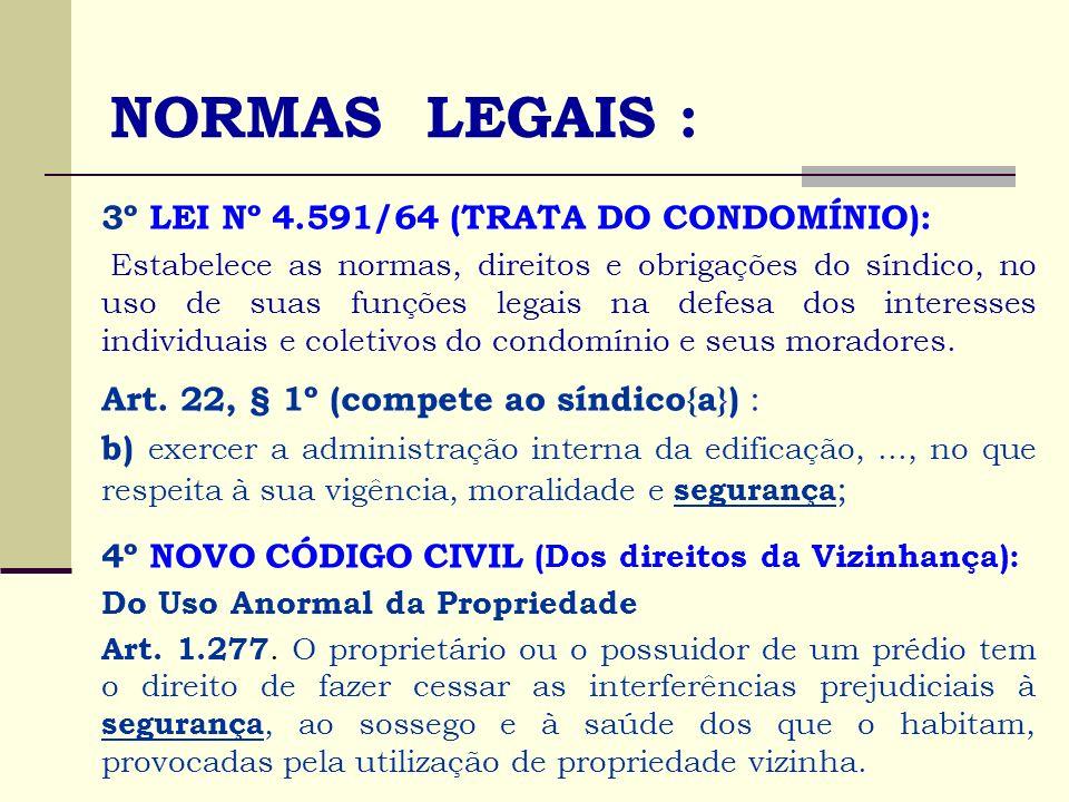 NORMAS LEGAIS : 3º LEI Nº 4.591/64 (TRATA DO CONDOMÍNIO):