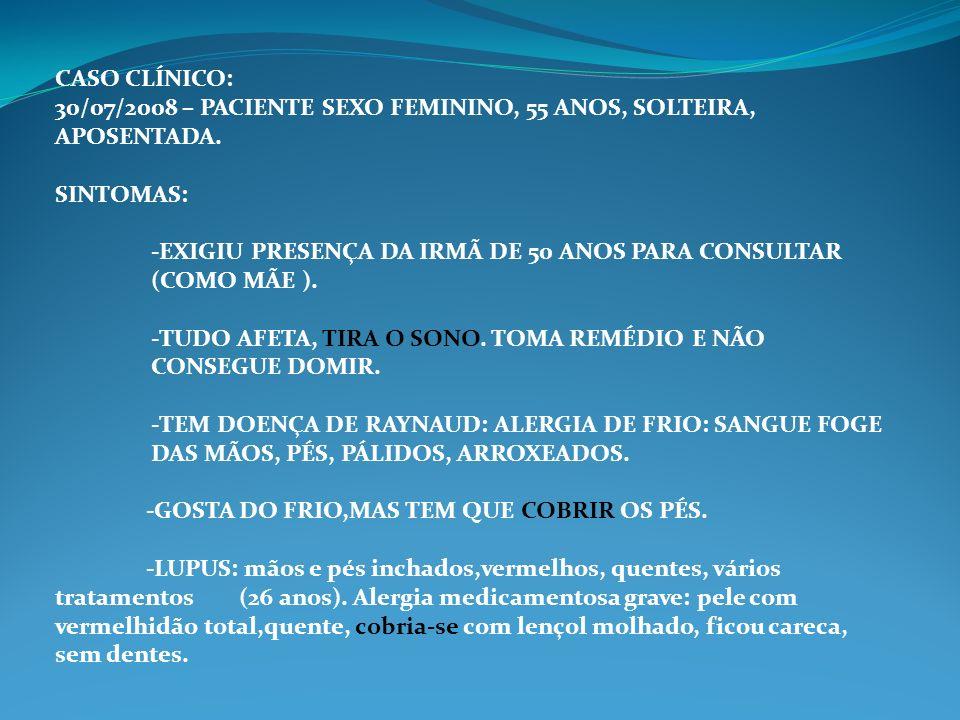 CASO CLÍNICO: 30/07/2008 – PACIENTE SEXO FEMININO, 55 ANOS, SOLTEIRA, APOSENTADA. SINTOMAS: