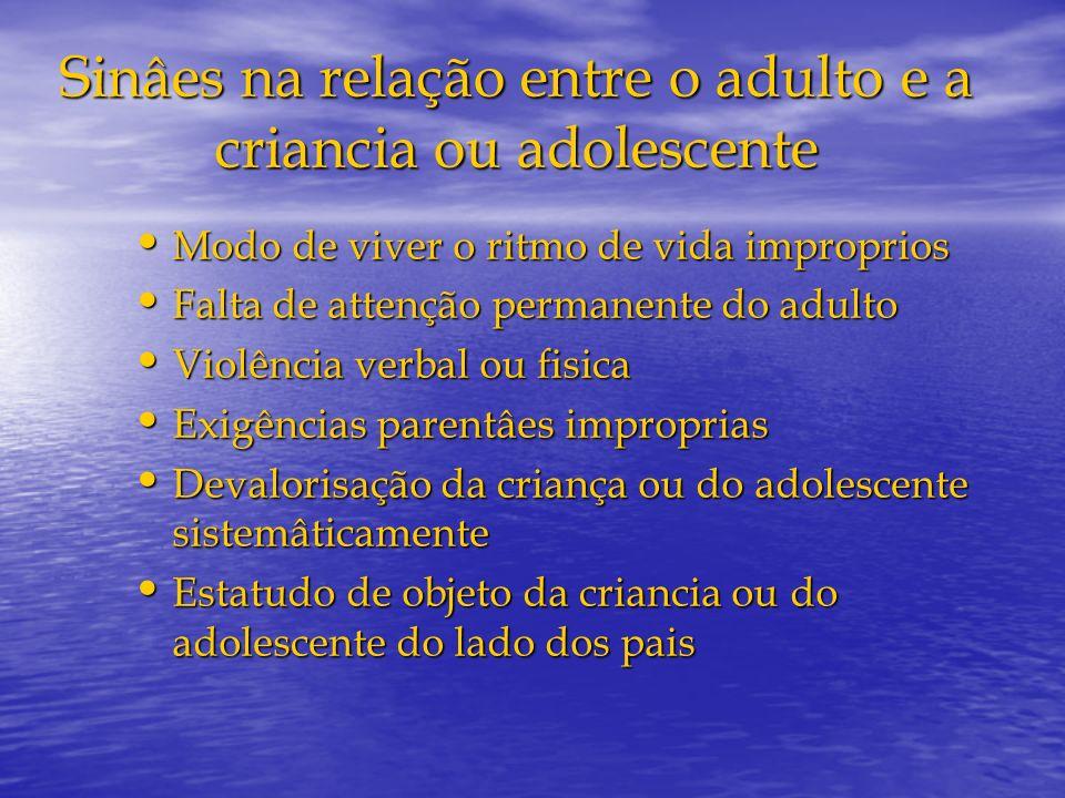 Sinâes na relação entre o adulto e a criancia ou adolescente