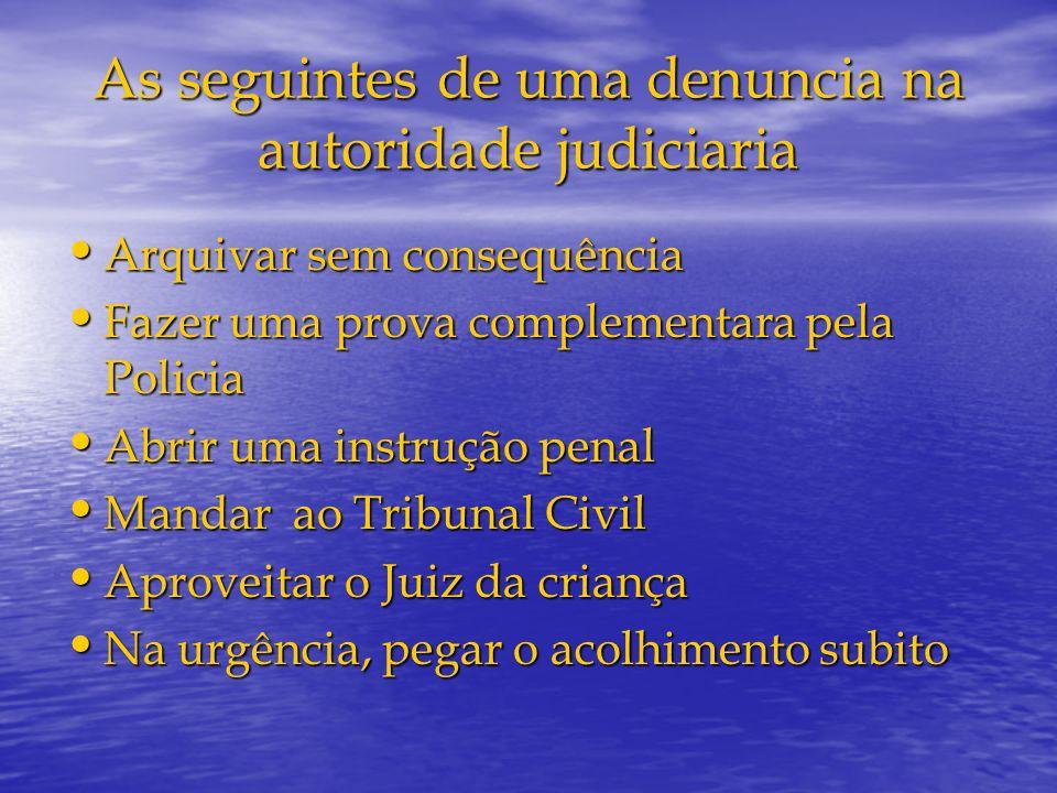 As seguintes de uma denuncia na autoridade judiciaria