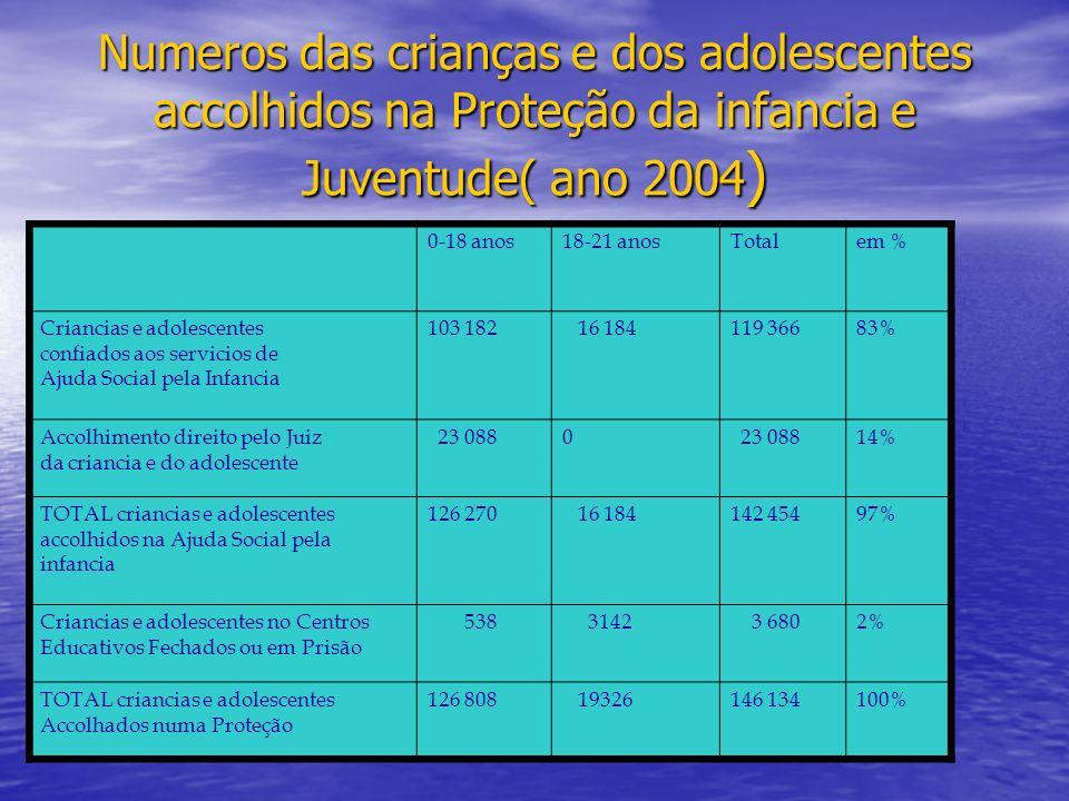 Numeros das crianças e dos adolescentes accolhidos na Proteção da infancia e Juventude( ano 2004)