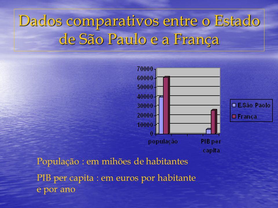 Dados comparativos entre o Estado de São Paulo e a França