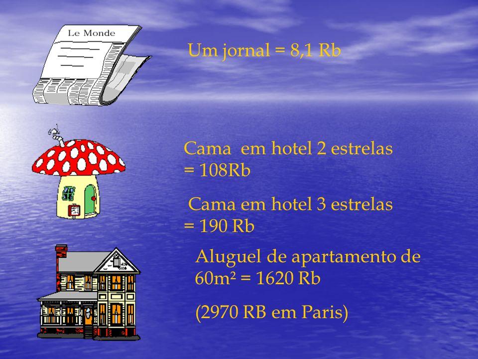 Um jornal = 8,1 Rb Cama em hotel 2 estrelas = 108Rb. Cama em hotel 3 estrelas = 190 Rb.