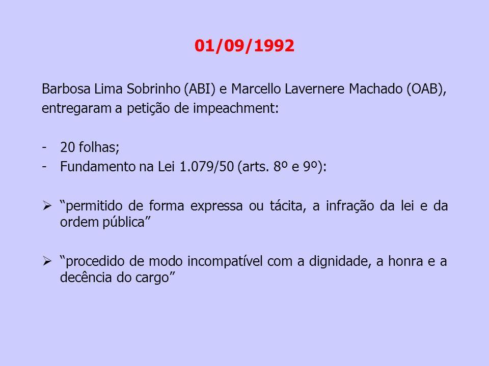 01/09/1992 Barbosa Lima Sobrinho (ABI) e Marcello Lavernere Machado (OAB), entregaram a petição de impeachment: