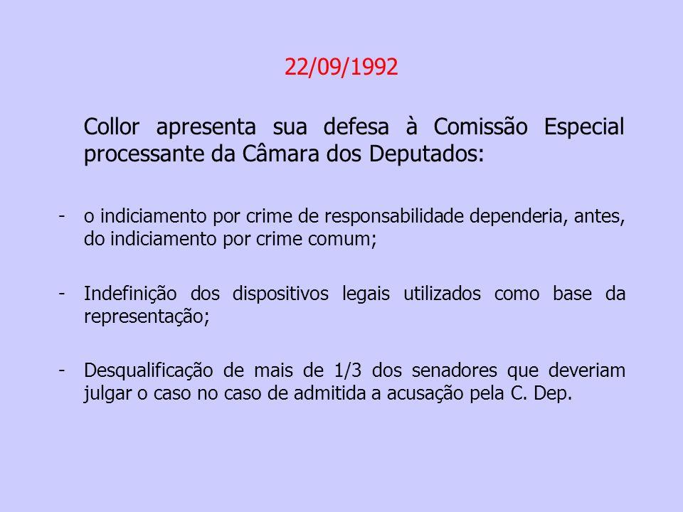 22/09/1992 Collor apresenta sua defesa à Comissão Especial processante da Câmara dos Deputados: