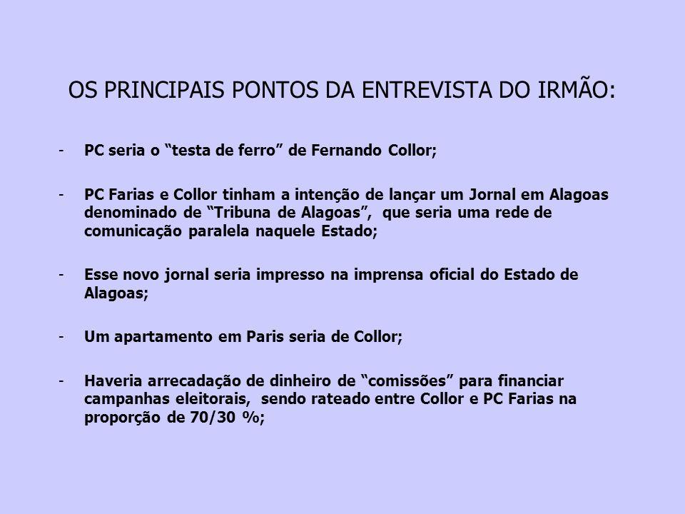 OS PRINCIPAIS PONTOS DA ENTREVISTA DO IRMÃO:
