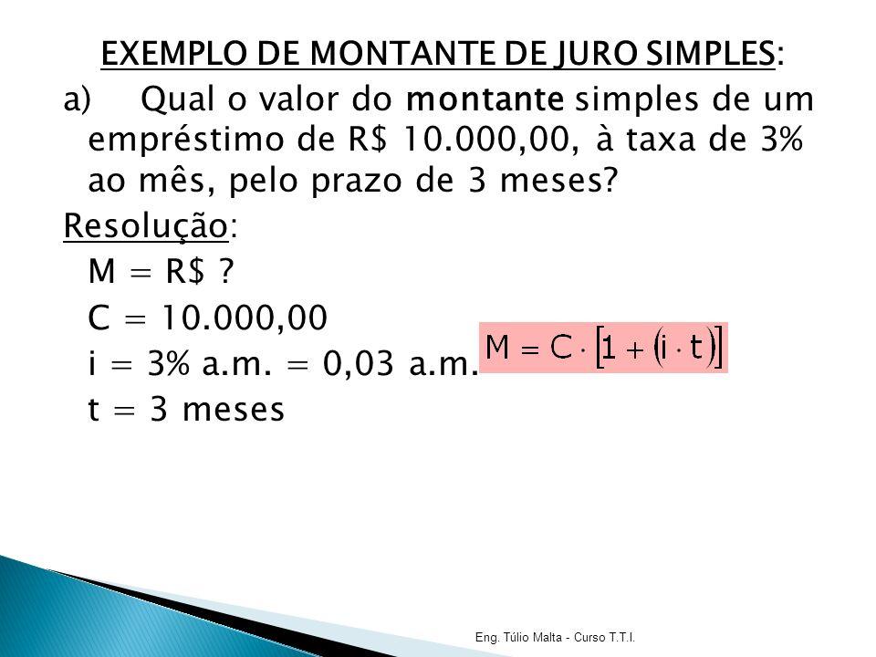 EXEMPLO DE MONTANTE DE JURO SIMPLES: