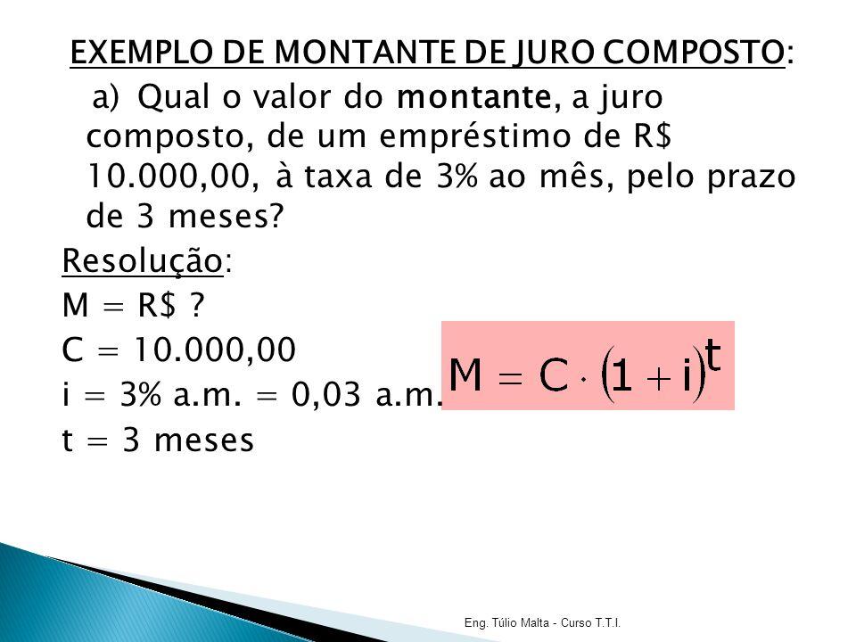 EXEMPLO DE MONTANTE DE JURO COMPOSTO: