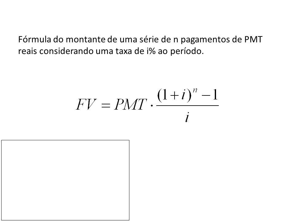 Fórmula do montante de uma série de n pagamentos de PMT reais considerando uma taxa de i% ao período.