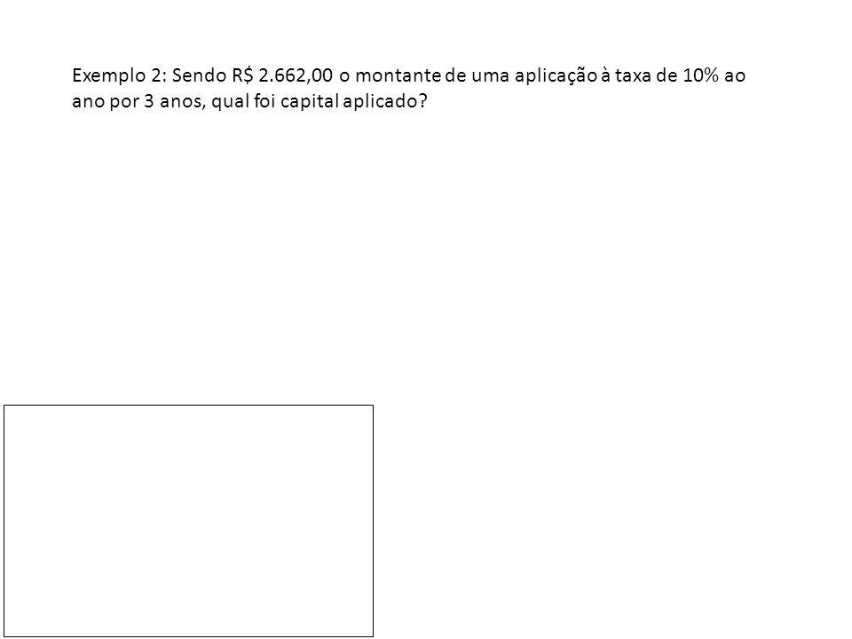 Exemplo 2: Sendo R$ 2.662,00 o montante de uma aplicação à taxa de 10% ao ano por 3 anos, qual foi capital aplicado