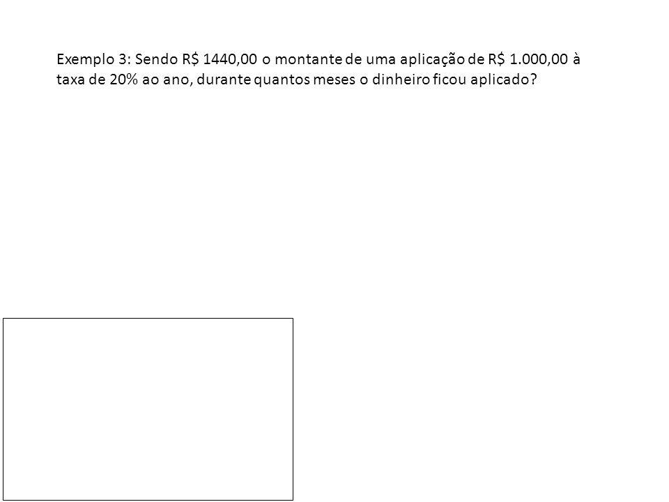 Exemplo 3: Sendo R$ 1440,00 o montante de uma aplicação de R$ 1