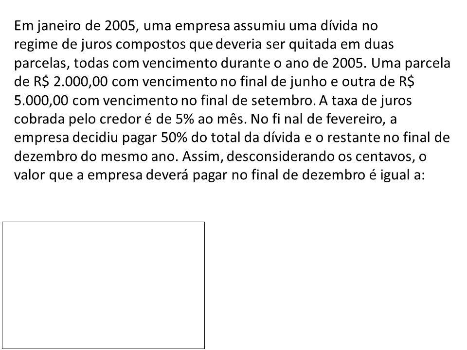 Em janeiro de 2005, uma empresa assumiu uma dívida no