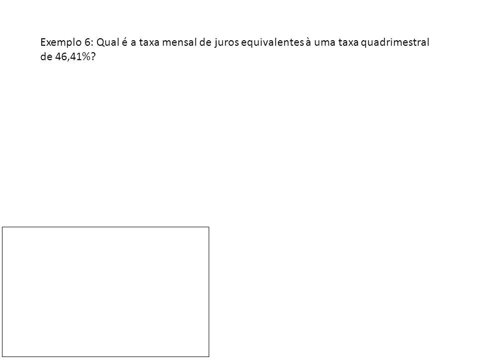 Exemplo 6: Qual é a taxa mensal de juros equivalentes à uma taxa quadrimestral de 46,41%