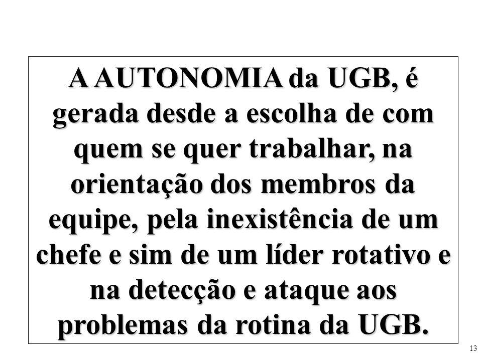 A AUTONOMIA da UGB, é gerada desde a escolha de com quem se quer trabalhar, na orientação dos membros da equipe, pela inexistência de um chefe e sim de um líder rotativo e na detecção e ataque aos problemas da rotina da UGB.