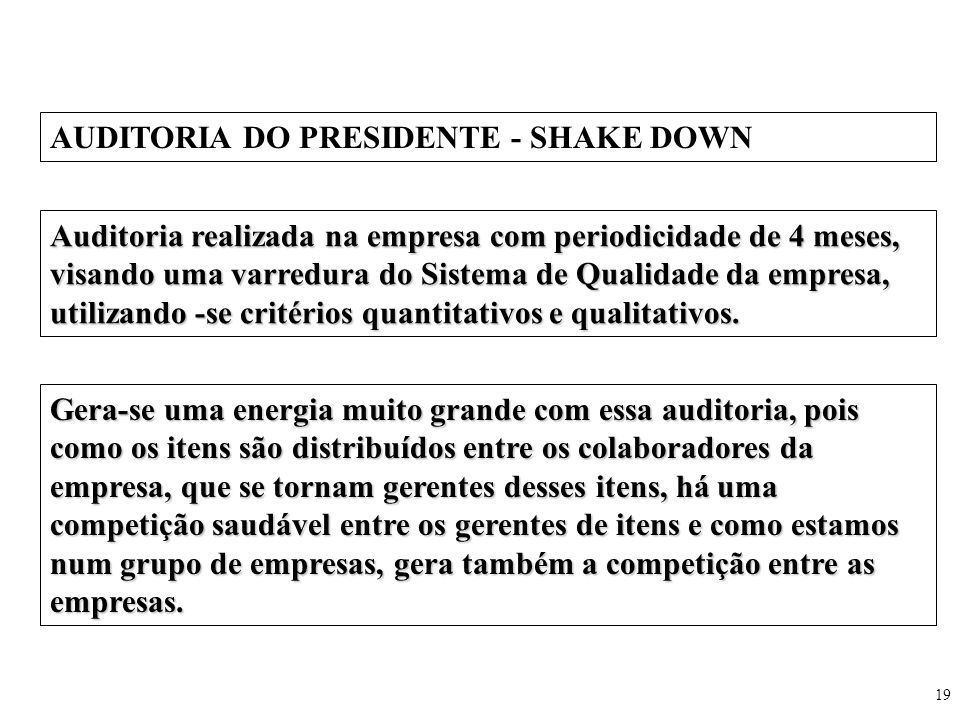 AUDITORIA DO PRESIDENTE - SHAKE DOWN