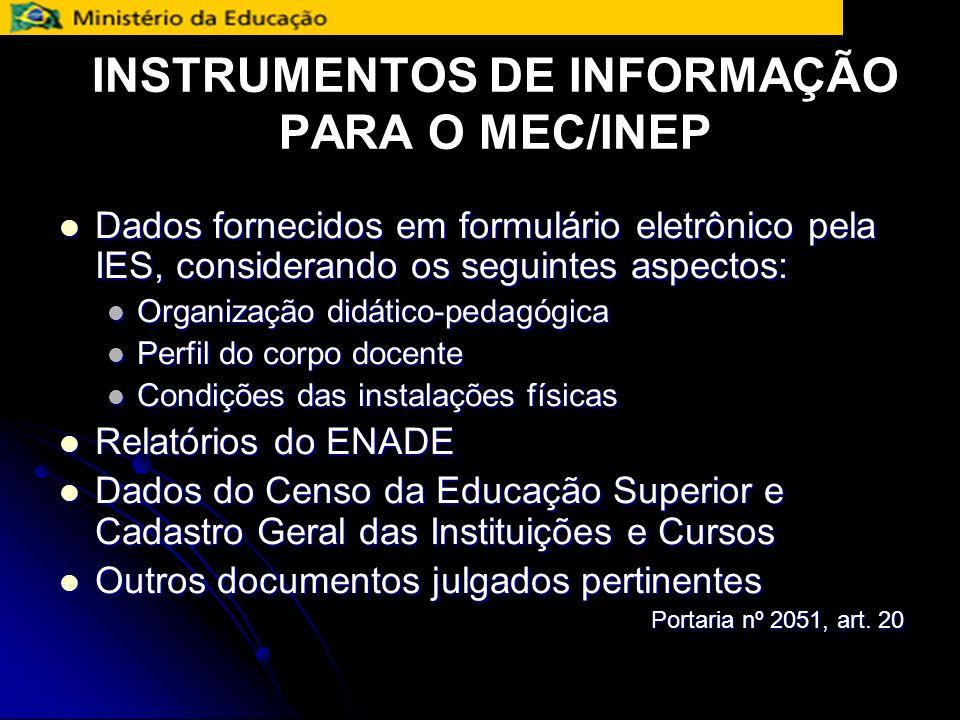 INSTRUMENTOS DE INFORMAÇÃO PARA O MEC/INEP
