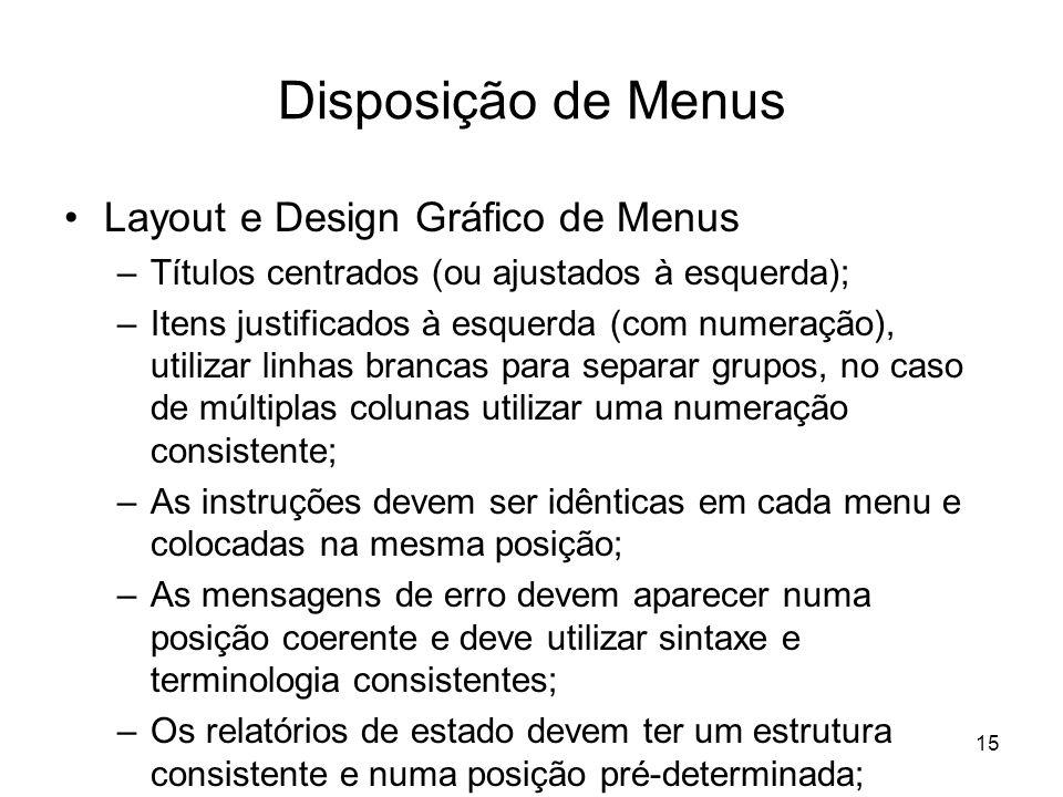 Disposição de Menus Layout e Design Gráfico de Menus