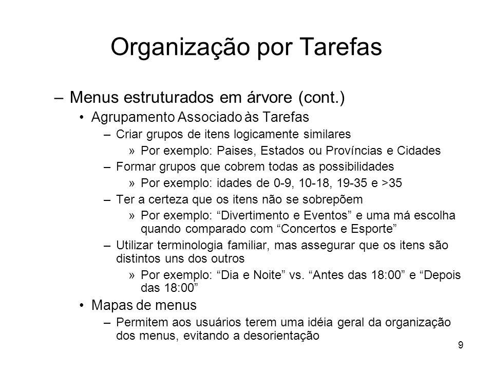 Organização por Tarefas