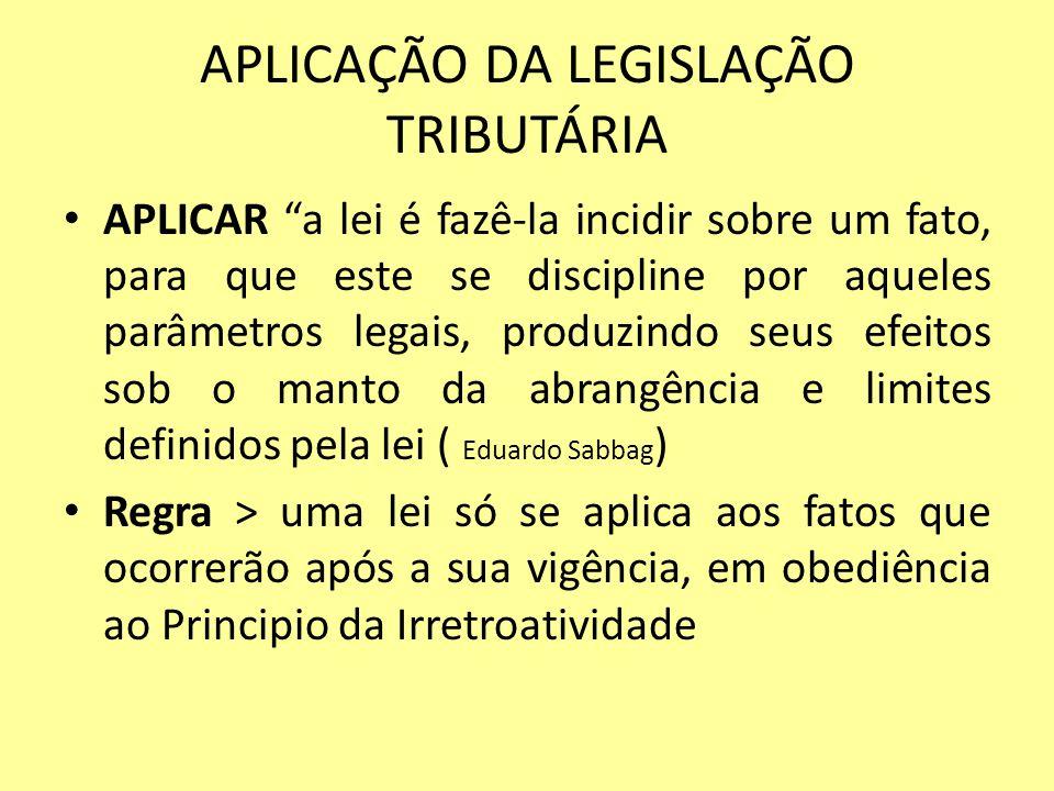 APLICAÇÃO DA LEGISLAÇÃO TRIBUTÁRIA