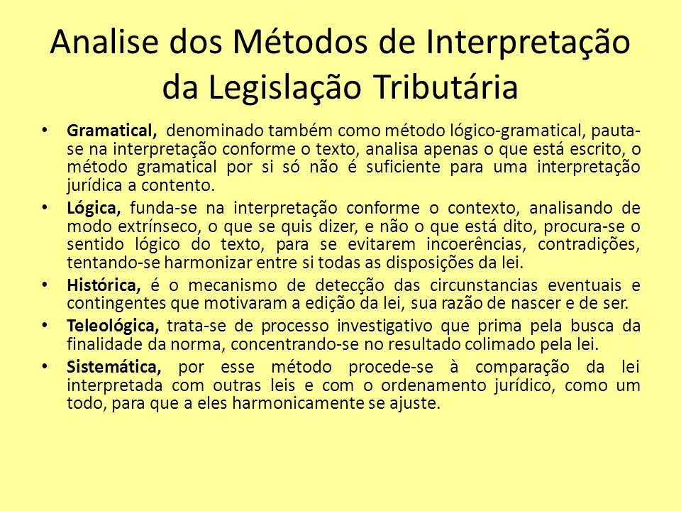 Analise dos Métodos de Interpretação da Legislação Tributária