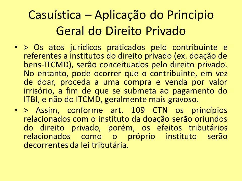 Casuística – Aplicação do Principio Geral do Direito Privado
