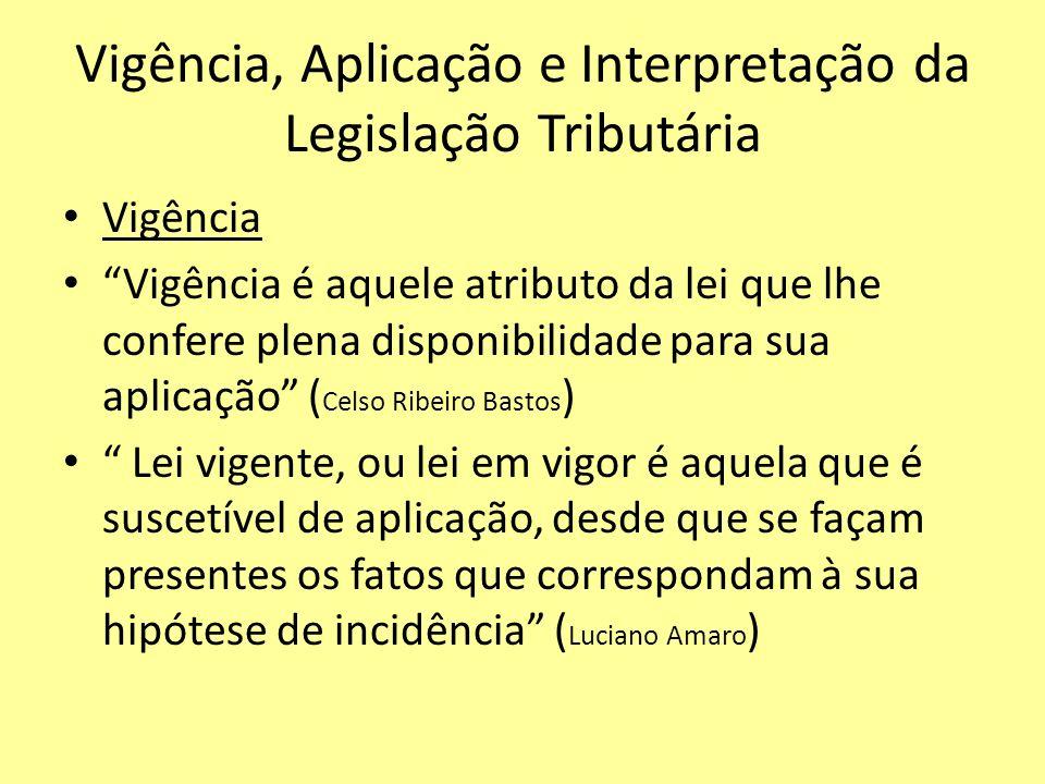 Vigência, Aplicação e Interpretação da Legislação Tributária