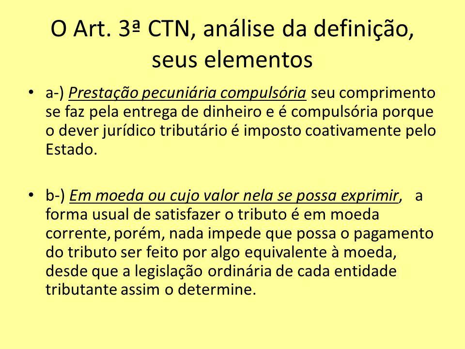 O Art. 3ª CTN, análise da definição, seus elementos