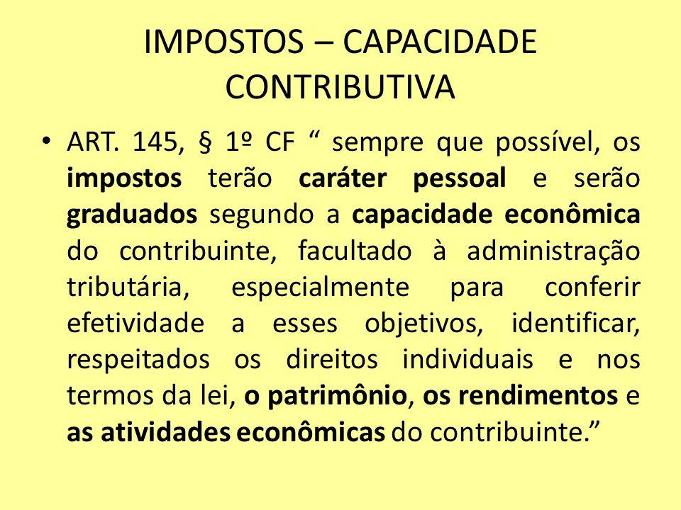 IMPOSTOS – CAPACIDADE CONTRIBUTIVA