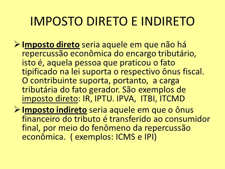 IMPOSTO DIRETO E INDIRETO