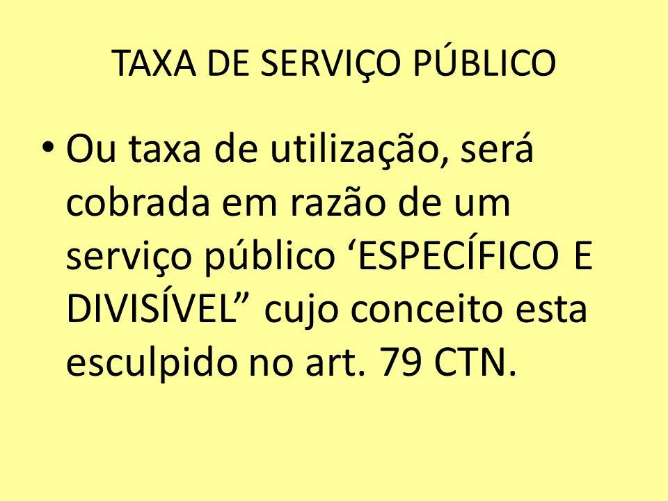 TAXA DE SERVIÇO PÚBLICO