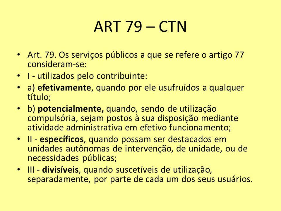 ART 79 – CTN Art. 79. Os serviços públicos a que se refere o artigo 77 consideram-se: I - utilizados pelo contribuinte: