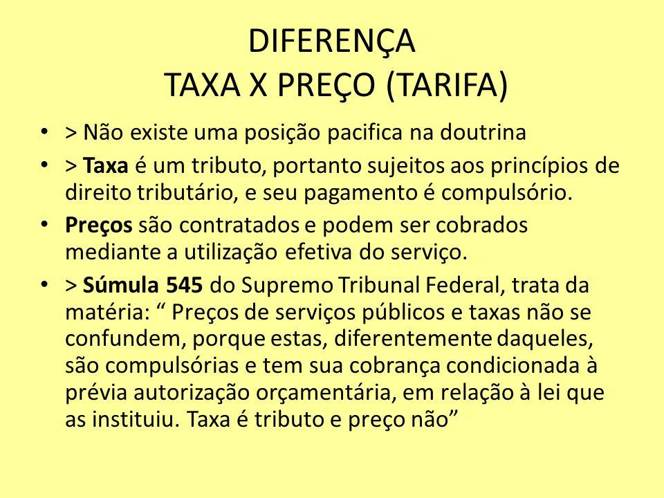 DIFERENÇA TAXA X PREÇO (TARIFA)