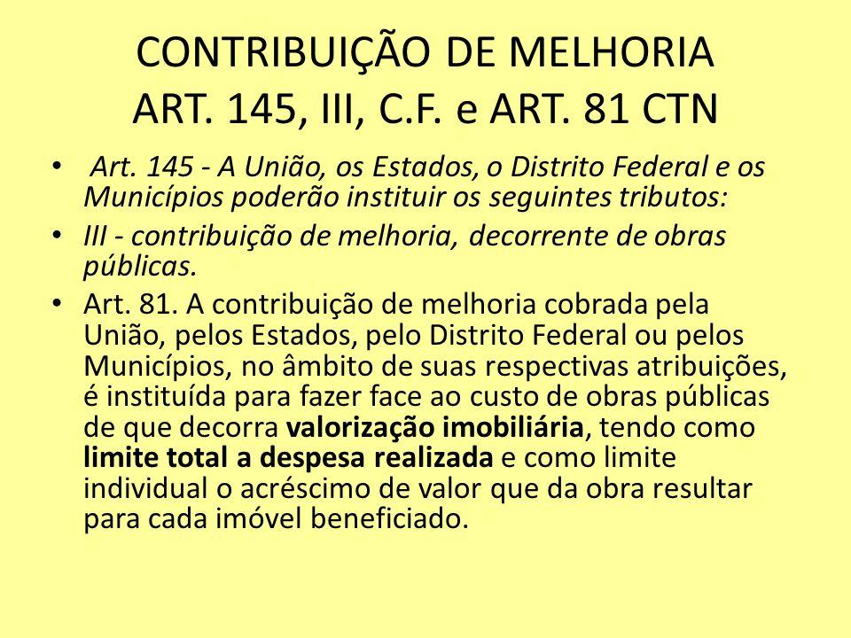 CONTRIBUIÇÃO DE MELHORIA ART. 145, III, C.F. e ART. 81 CTN