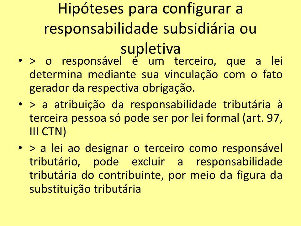 Hipóteses para configurar a responsabilidade subsidiária ou supletiva