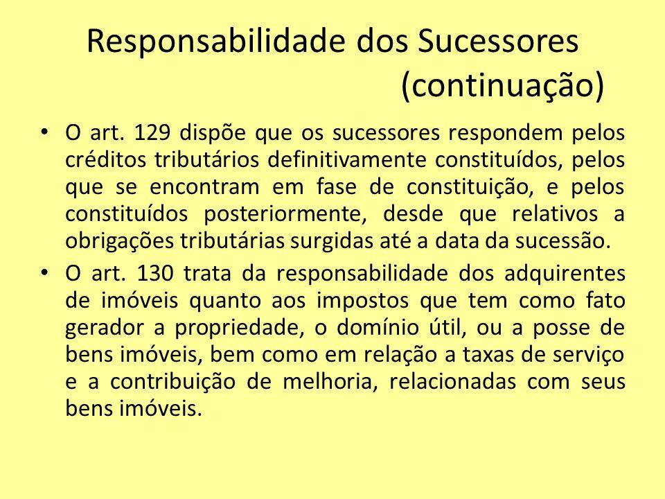 Responsabilidade dos Sucessores (continuação)