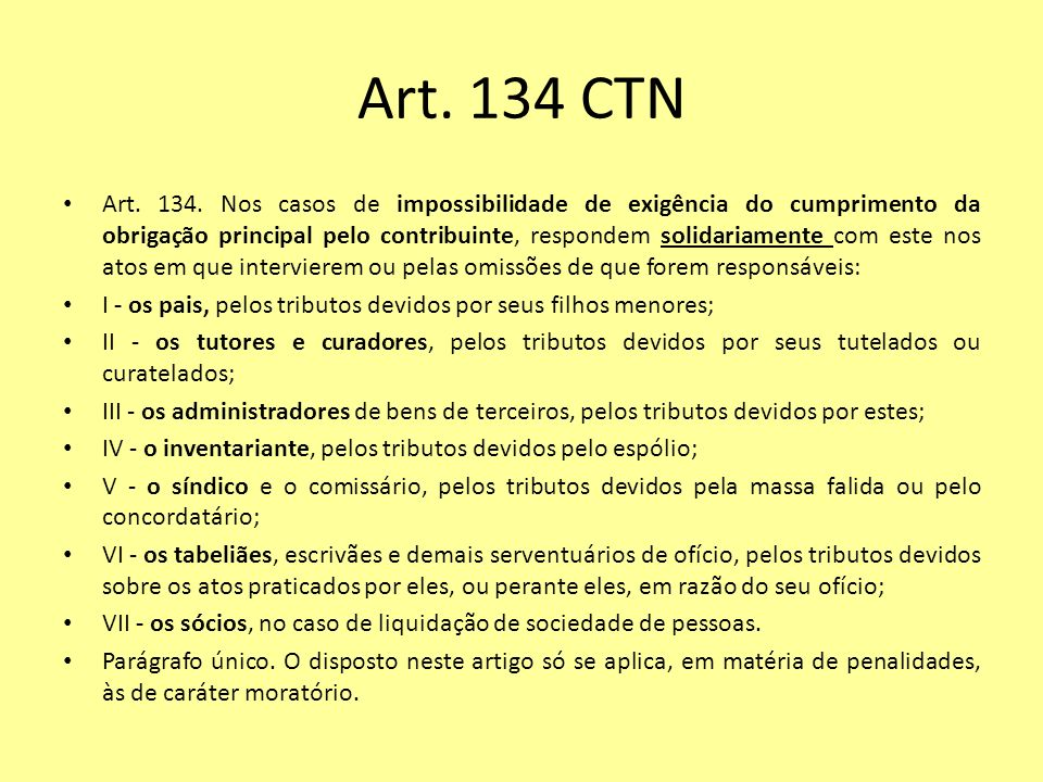 Art. 134 CTN