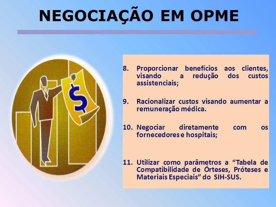 NEGOCIAÇÃO EM OPME Proporcionar benefícios aos clientes, visando a redução dos custos assistenciais;