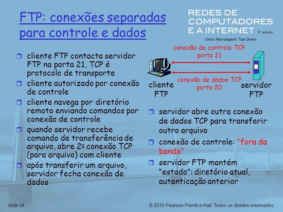 FTP: conexões separadas para controle e dados