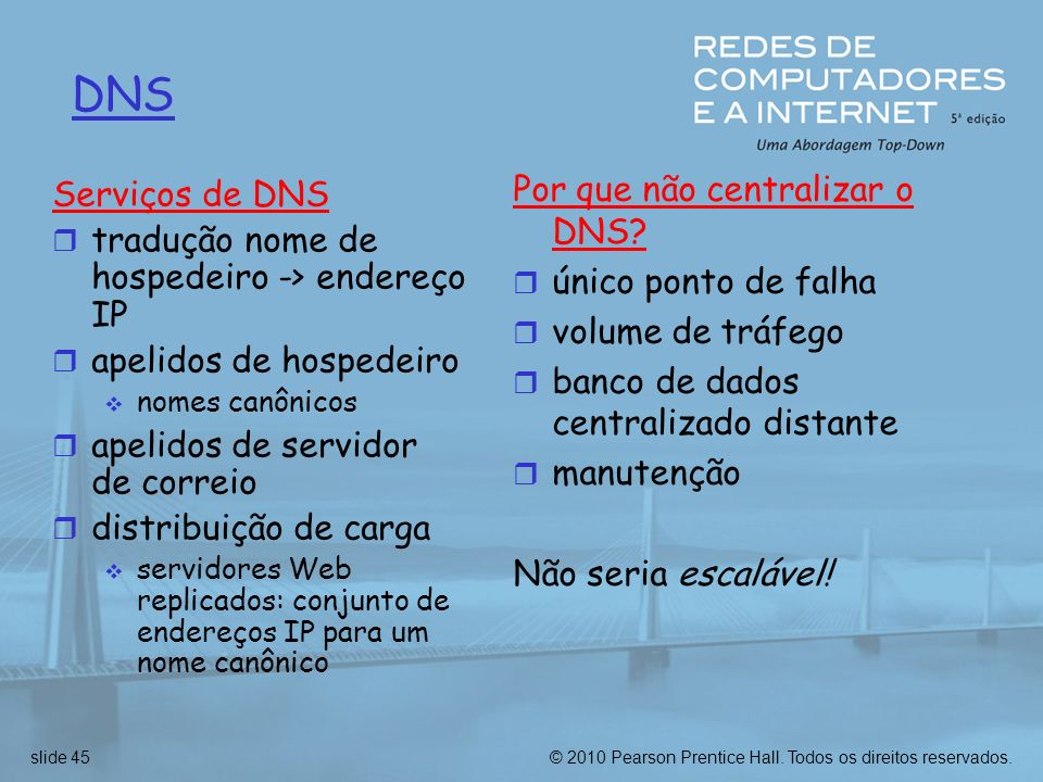 DNS Por que não centralizar o DNS Serviços de DNS