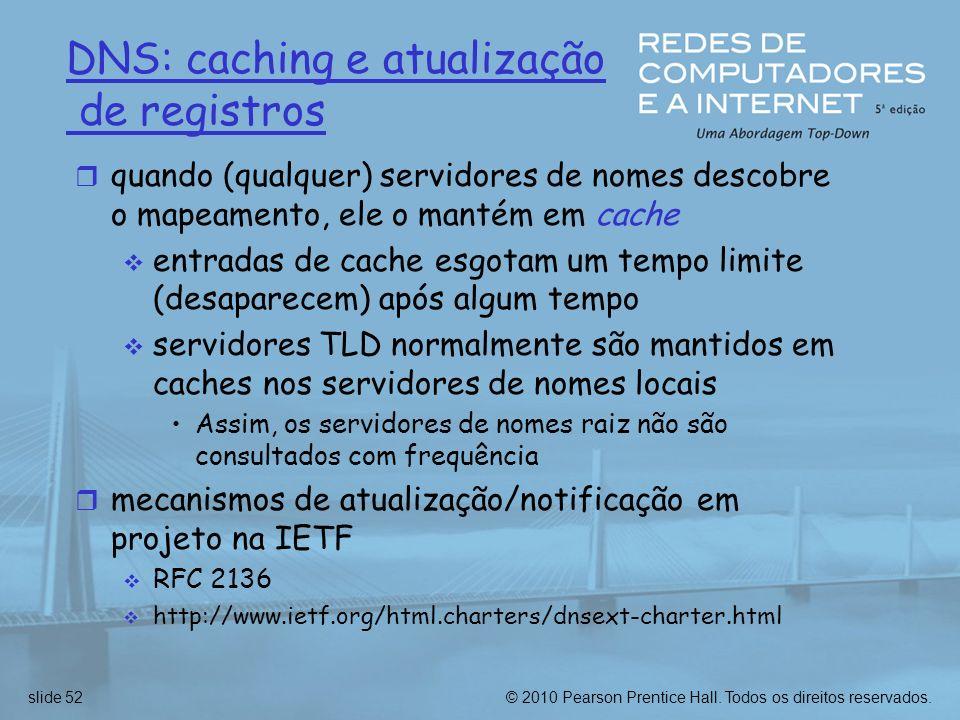 DNS: caching e atualização de registros